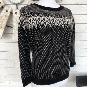 Willi Smith Black Fairaisle Wool Blend Sweater